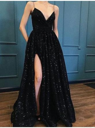 A-Line/Princess Sequined Prom Dresses Stunning Sweep Train V-neck Sleeveless