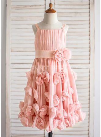 A-Line/Princess Straps Tea-length With Flower(s)/Bow(s)/Pleated Chiffon Flower Girl Dresses