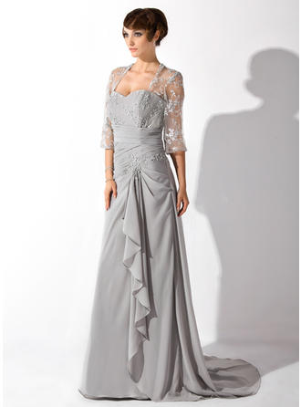 A-Line/Princess Chiffon 3/4 Sleeves Sweetheart Court Train Zipper Up Mother of the Bride Dresses