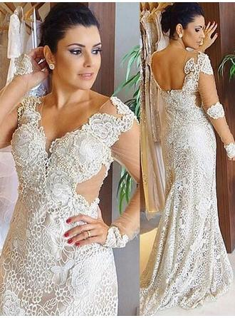 Glamorous Sweep Train Sheath/Column Wedding Dresses V-neck Lace Long Sleeves