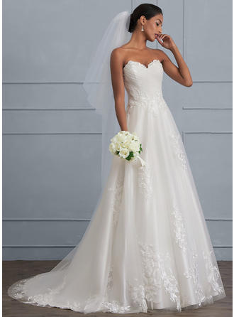 Ruffle Beading Sequins Ball-Gown - Tulle Wedding Dresses