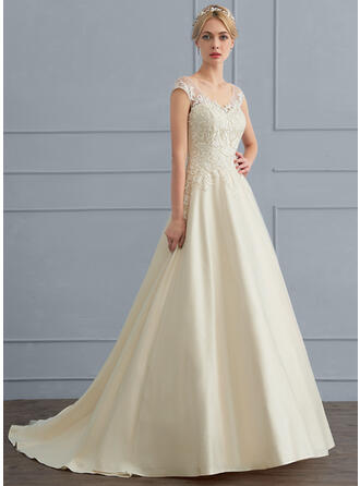 Ball-Gown V-neck Sweep Train Tulle Wedding Dress