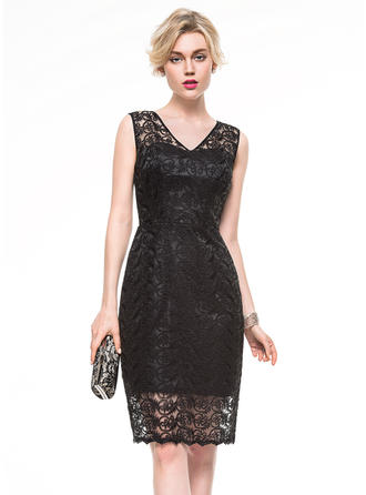 Sheath/Column Lace Cocktail Dresses V-neck Sleeveless Knee-Length