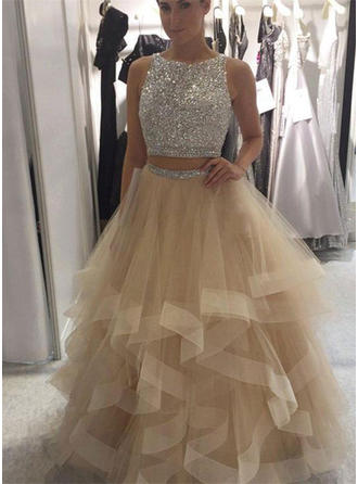 Sleeveless Ball-Gown Prom Dresses Scoop Neck Ruffle Floor-Length