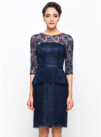 Lace Knee-Length Scoop Neck Sheath/Column Cocktail Dresses