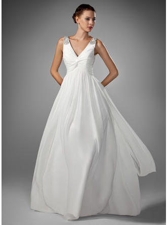 A-Line/Princess Floor-Length Wedding Dress With Ruffle Beading