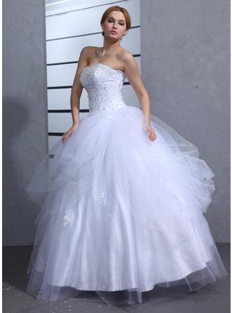6c15bc258da6 Balklänning Älskling Golvlång Tyll Bröllopsklänning med Rufsar Spets Beading  Paljetter