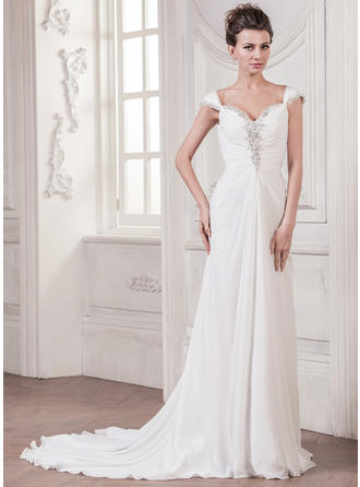 Flattering Court Train A-Line/Princess Wedding Dresses Sweetheart Chiffon Sleeveless
