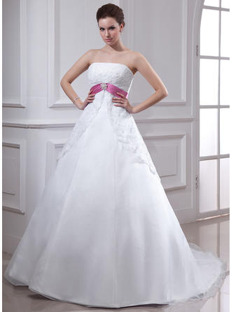 Empire Chapel Train Wedding Dress With Lace Sash Crystal Brooch