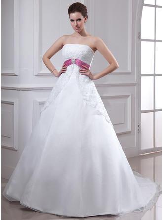Império Cauda longa Vestido de noiva com Renda Cintos Pino flor crystal