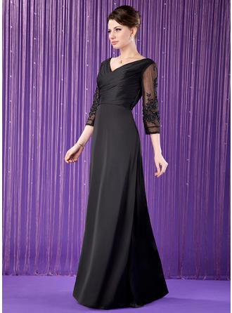 A-Linie/Princess-Linie V-Ausschnitt Satin-Chiffon 3/4 Ärmel Bodenlang Rüschen Spitze Perlstickerei Kleider für die Brautmutter (008211449)