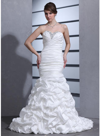 Delicate Court Train Trumpet/Mermaid Wedding Dresses Sweetheart Taffeta Sleeveless
