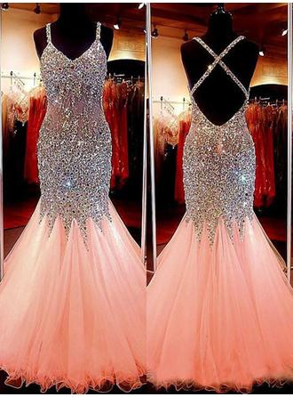 Trumpet/Mermaid V-neck Tulle Sleeveless Floor-Length Beading Sequins Evening Dresses