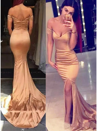 Elegant Off-the-Shoulder Trumpet/Mermaid Sleeveless Silk Like Satin Evening Dresses
