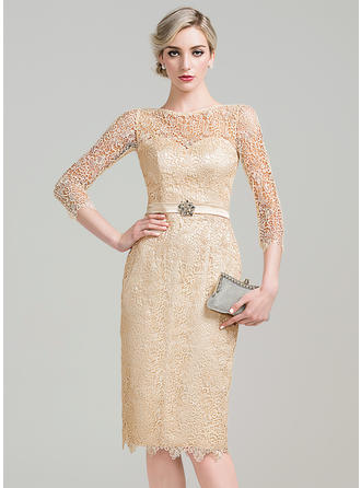 Knee-Length Sheath/Column 3/4 Sleeves Lace Cocktail Dresses
