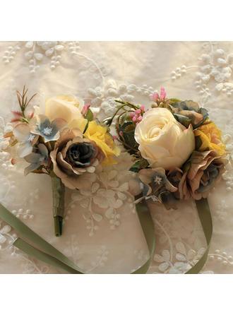 Armbandblume/Knopflochblume Hochzeit Satin/Seide Anhänger Brautstrauß