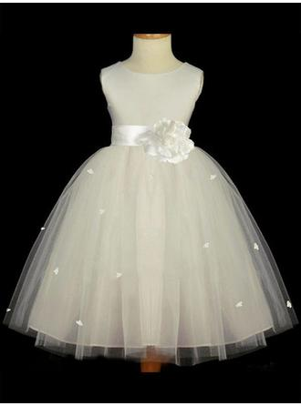 A-Line/Princess Scoop Neck Tea-length With Sash/Flower(s) Satin/Tulle Flower Girl Dresses (010211812)