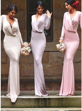 Jersey Long Sleeves Sheath/Column Bridesmaid Dresses V-neck Ruffle Floor-Length