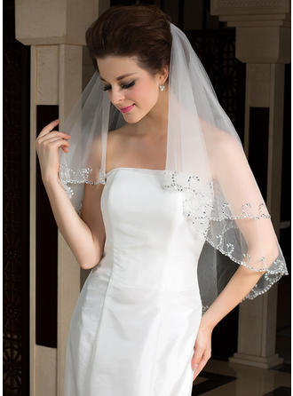 Elbow Bridal Veils Tulle Two-tier Classic/Oval With Sequin Trim Edge Wedding Veils