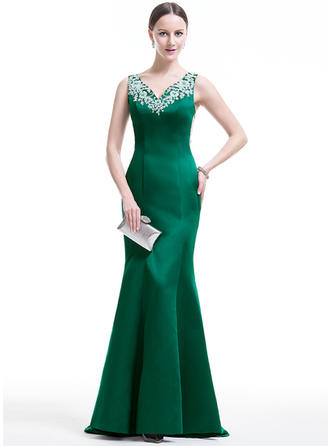 Trumpet/Mermaid V-neck Satin Sleeveless Sweep Train Beading Appliques Lace Sequins Evening Dresses
