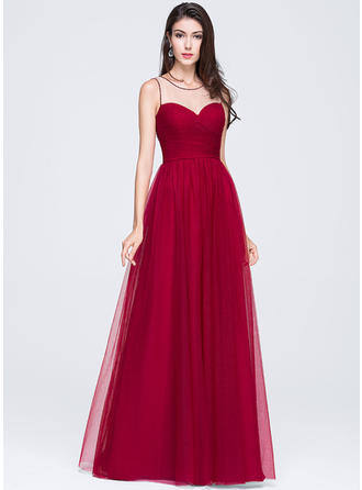 Tulle Sleeveless A-Line/Princess Prom Dresses Scoop Neck Ruffle Beading Flower(s) Sequins Floor-Length