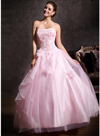 Ball-Gown Sweetheart Floor-Length Tulle Prom Dress With Lace Beading Flower(s) Cascading Ruffles