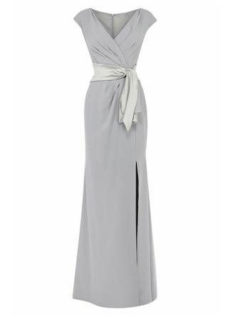 Empire V-neck Floor-Length Chiffon Mother of the Bride Dress With Split Front (008146317)