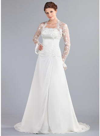A-Line/Princess Court Train Wedding Dress With Ruffle Lace Beading