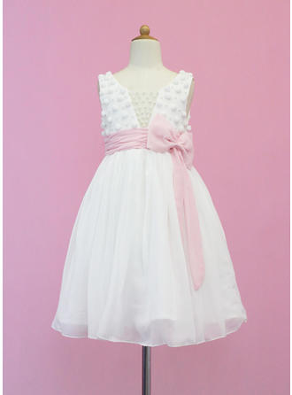 Chiffon/Tulle A-Line/Princess Sash/Beading/Bow(s) Beautiful Flower Girl Dresses