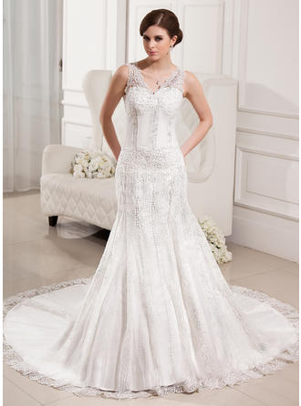 Tulle Lace Sleeveless Trumpet/Mermaid With Fashion Wedding Dresses