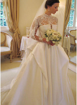 Flattering Chapel Train Ball-Gown Wedding Dresses High Neck Taffeta Long Sleeves