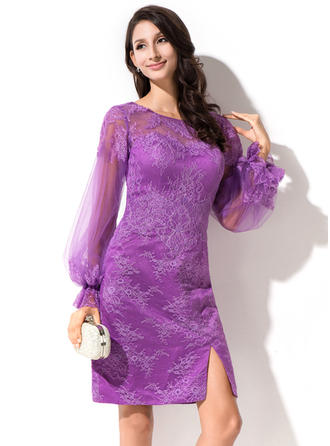 Sheath/Column Scoop Neck Knee-Length Lace Cocktail Dress With Split Front Cascading Ruffles