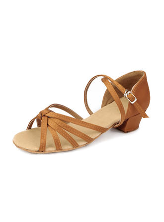 Kids' Latin Heels Sandals Satin With Ankle Strap Dance Shoes