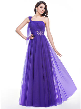 Tulle Sleeveless A-Line/Princess Prom Dresses One-Shoulder Ruffle Beading Floor-Length