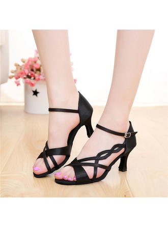 Women's Latin Heels Sandals Satin With Buckle Hollow-out Dance Shoes