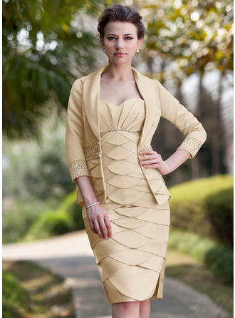 Sheath/Column Satin Sleeveless Sweetheart Knee-Length Zipper Up at Side Mother of the Bride Dresses