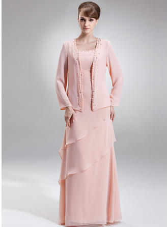 A-Line/Princess Scoop Neck Floor-Length Chiffon Mother of the Bride Dress With Beading Cascading Ruffles (008006418)
