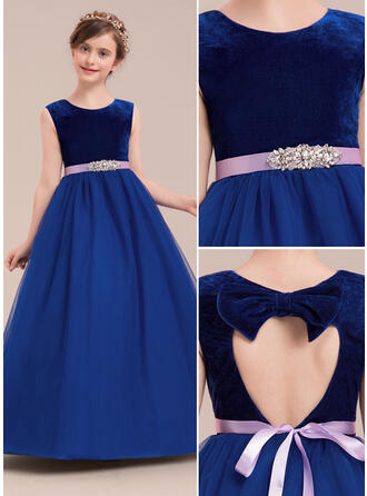 Ball Gown Scoop Neck Floor-length With Rhinestone Tulle/Velvet Flower Girl Dress