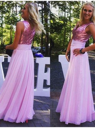 Chiffon Sequined Sleeveless A-Line/Princess Bridesmaid Dresses V-neck Ruffle Floor-Length