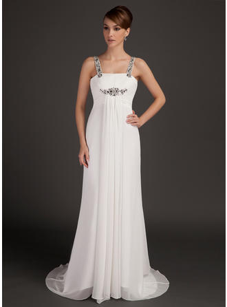 Chiffon Sleeveless Mother of the Bride Dresses Scoop Neck Empire Ruffle Beading Watteau Train