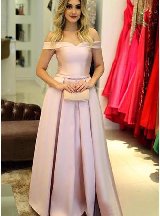 A-Line/Princess Off-the-Shoulder Satin Sleeveless Floor-Length Ruffle Evening Dresses