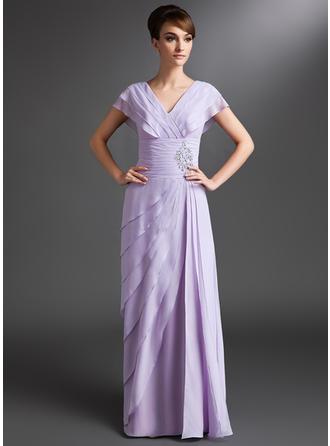 A-Linie/Princess-Linie V-Ausschnitt Chiffon Kurze Ärmel Bodenlang Perlstickerei Pailletten Gestufte Rüschen Kleider für die Brautmutter (008006095)