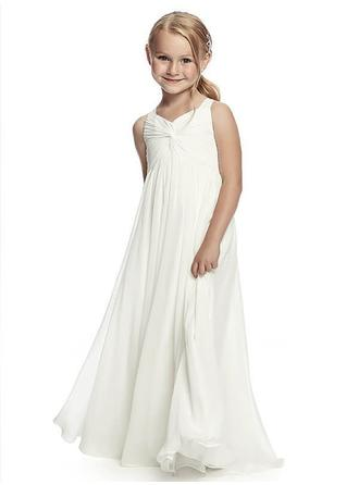 A-Line/Princess Straps Floor-length With Ruffles/Sash Chiffon Flower Girl Dresses