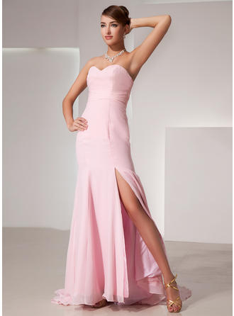 Trumpet/Mermaid Sweetheart Sweep Train Evening Dress With Split Front