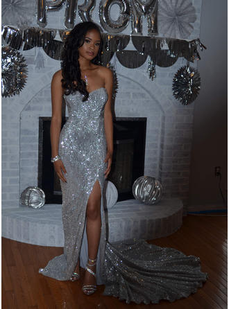 Court Train Strapless Sequined Sheath/Column Prom Dresses