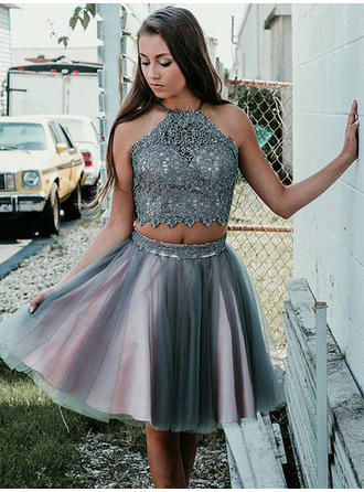 Beautiful Tulle Homecoming Dresses A-Line/Princess Short/Mini Scoop Neck Sleeveless