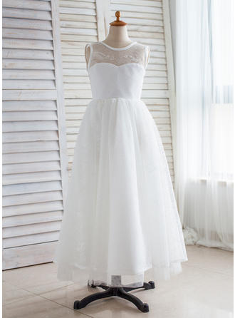 Scoop Neck A-Line/Princess Flower Girl Dresses Tulle/Lace V Back Sleeveless Floor-length