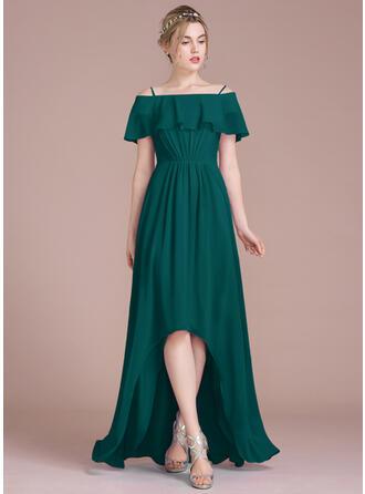 A-Line Off-the-Shoulder Asymmetrical Chiffon Bridesmaid Dress