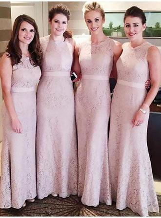 Lace Sleeveless Sheath/Column Bridesmaid Dresses Scoop Neck Sash Floor-Length