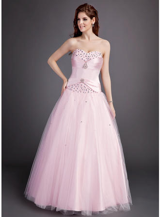 Ball-Gown Sweetheart Floor-Length Satin Tulle Prom Dress With Ruffle Beading